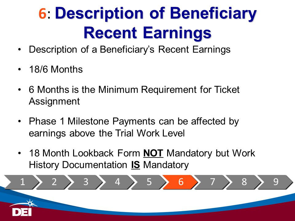 6: Description of Beneficiary Recent Earnings