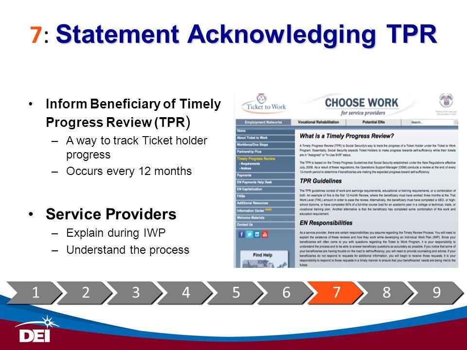 7: Statement Acknowledging TPR