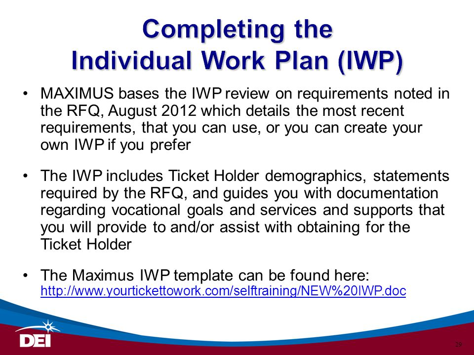 Completing the Individual Work Plan (IWP)