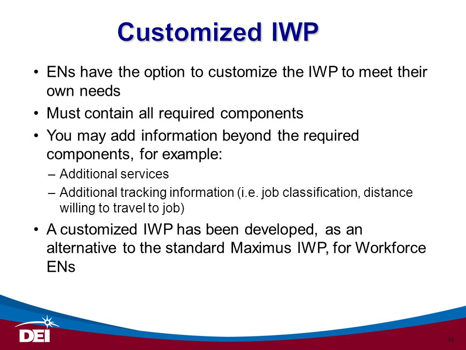 Customized IWP ENs have the option to customize the IWP to meet their own needs. Must contain all required components.