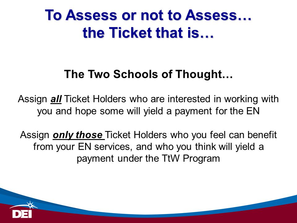 To Assess or not to Assess… the Ticket that is…