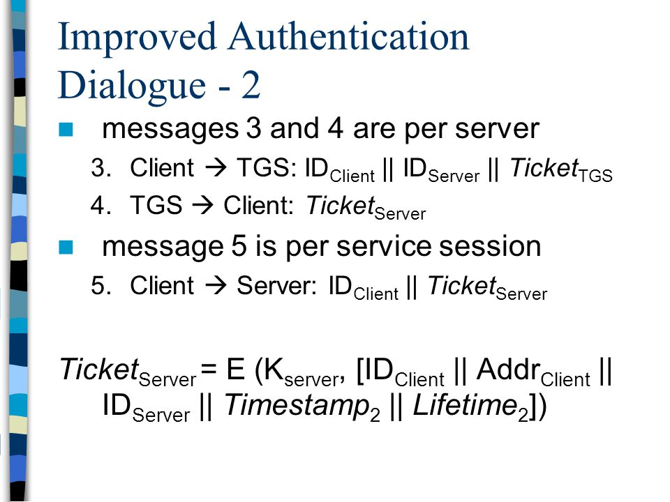 Improved Authentication Dialogue - 2