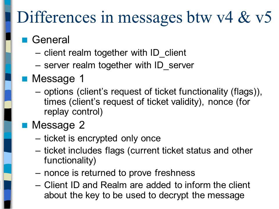 Differences in messages btw v4 & v5