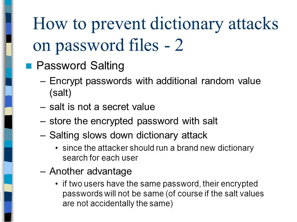How to prevent dictionary attacks on password files - 2