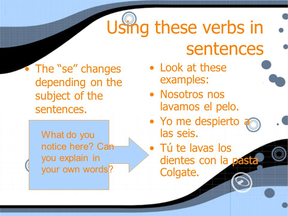 Using these verbs in sentences