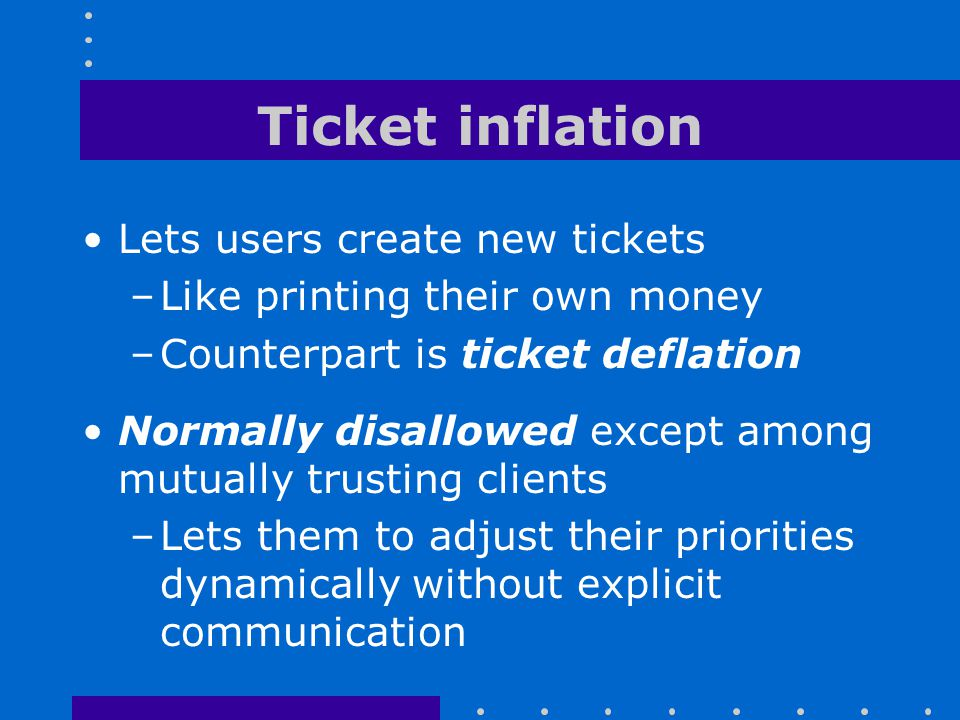 Ticket inflation Lets users create new tickets