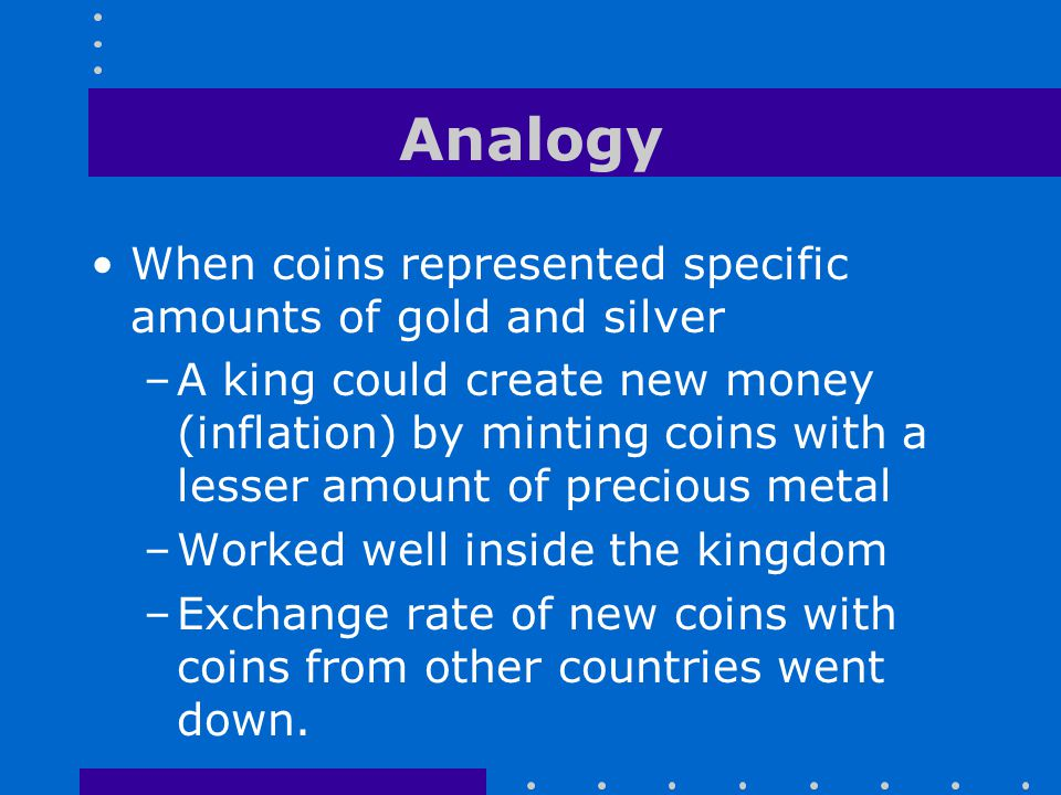 Analogy When coins represented specific amounts of gold and silver