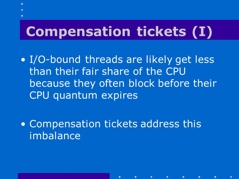 Compensation tickets (I)