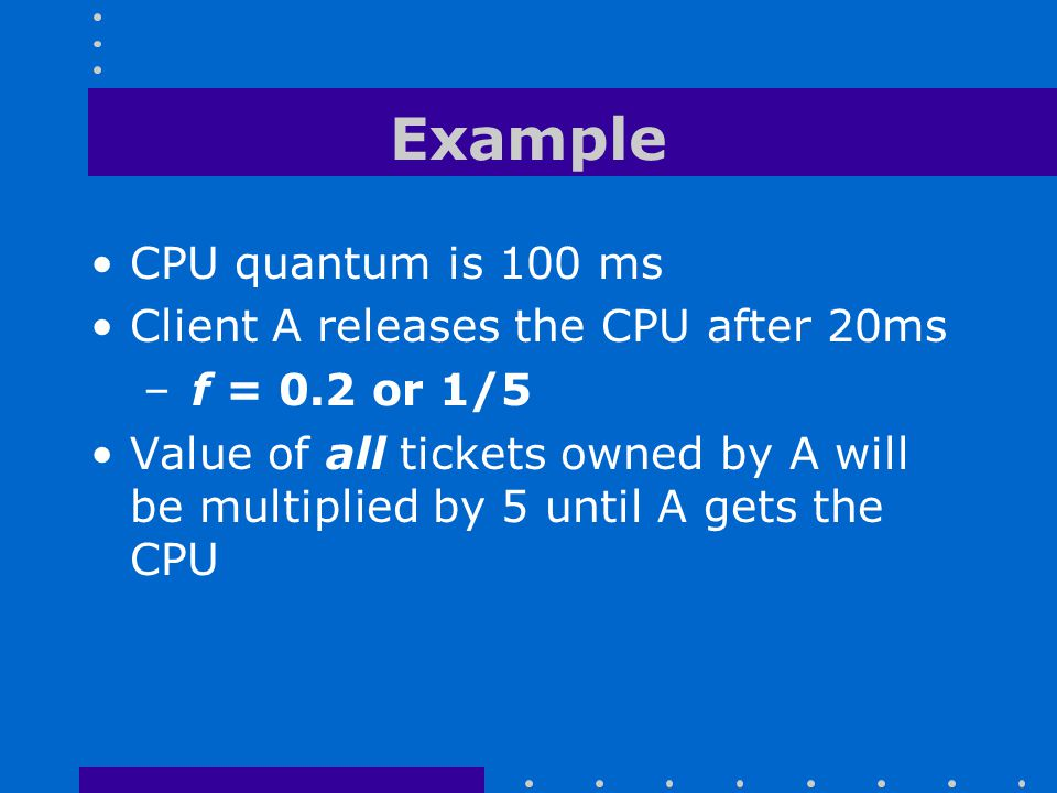 Example CPU quantum is 100 ms Client A releases the CPU after 20ms