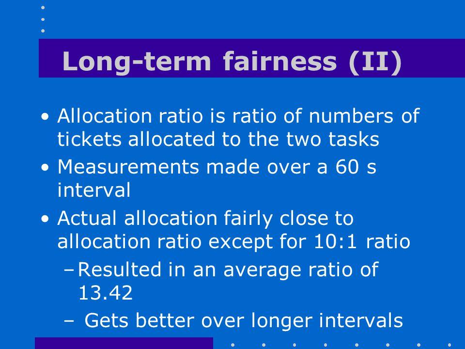 Long-term fairness (II)