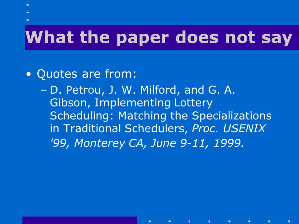 What the paper does not say