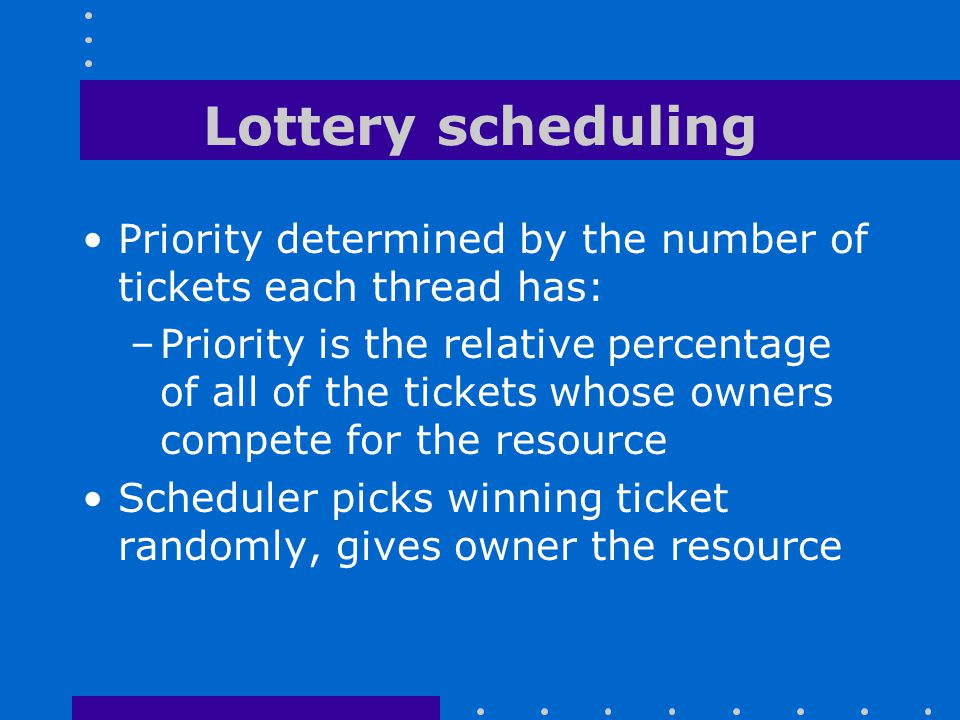 Lottery scheduling Priority determined by the number of tickets each thread has:
