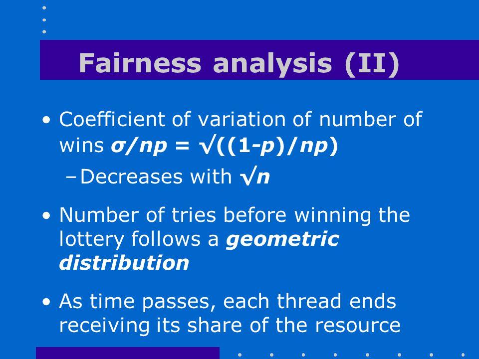 Fairness analysis (II)