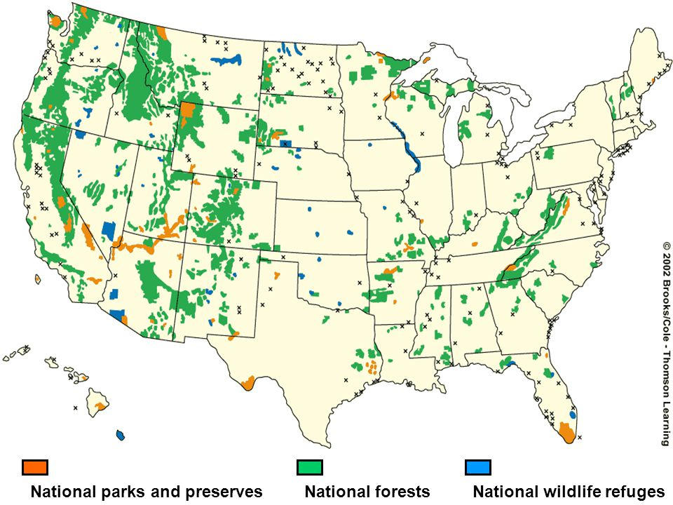 National parks and preserves National wildlife refuges