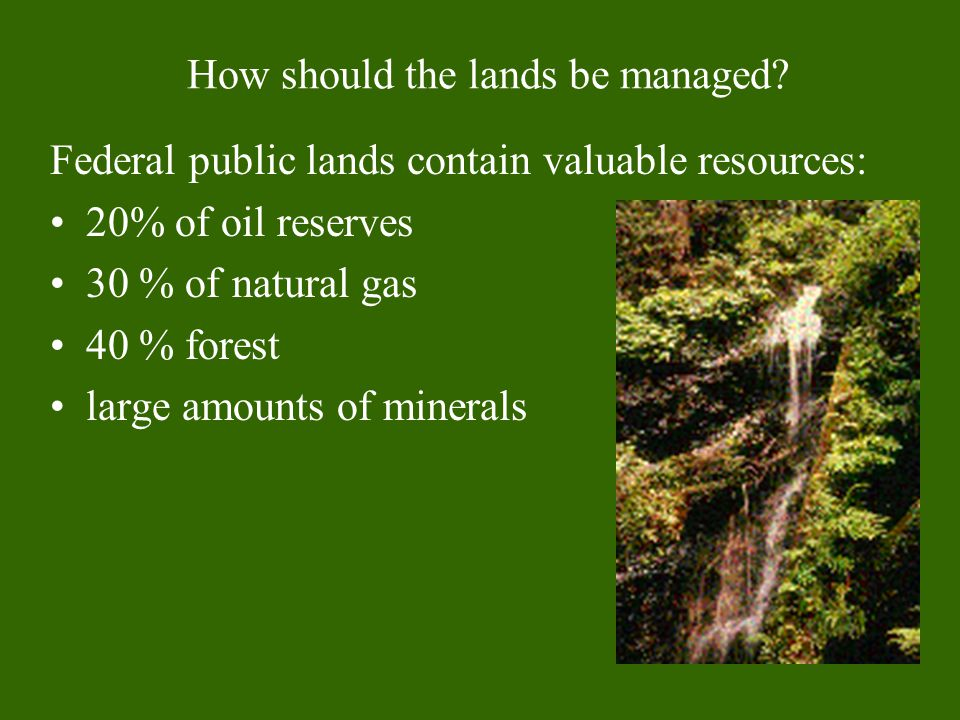 How should the lands be managed