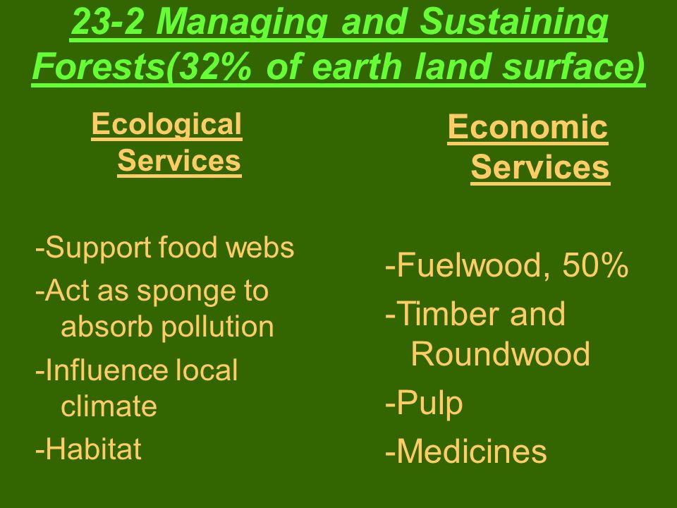 23-2 Managing and Sustaining Forests(32% of earth land surface)