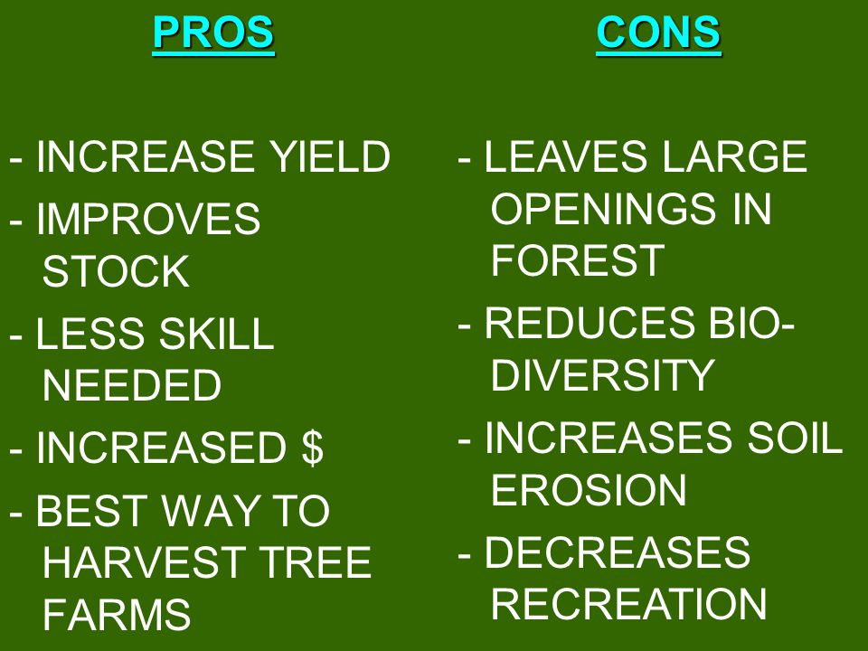PROS - INCREASE YIELD. - IMPROVES STOCK. - LESS SKILL NEEDED. - INCREASED $ - BEST WAY TO HARVEST TREE FARMS.