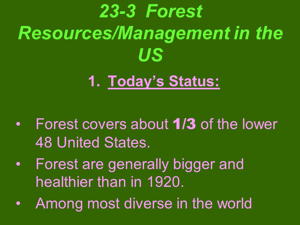 23-3 Forest Resources/Management in the US