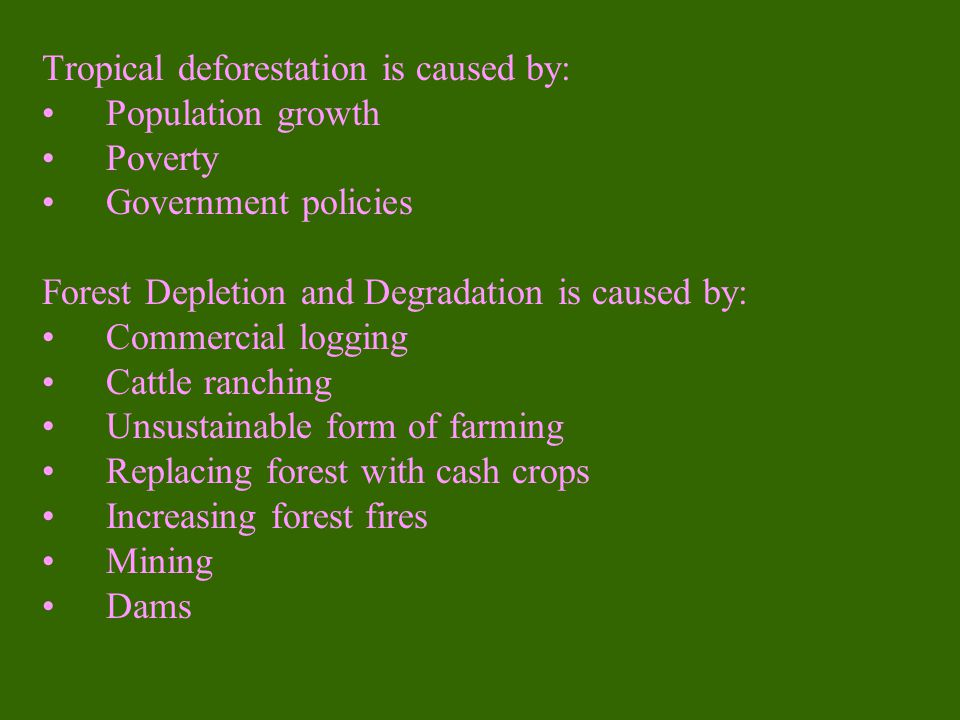 Tropical deforestation is caused by: