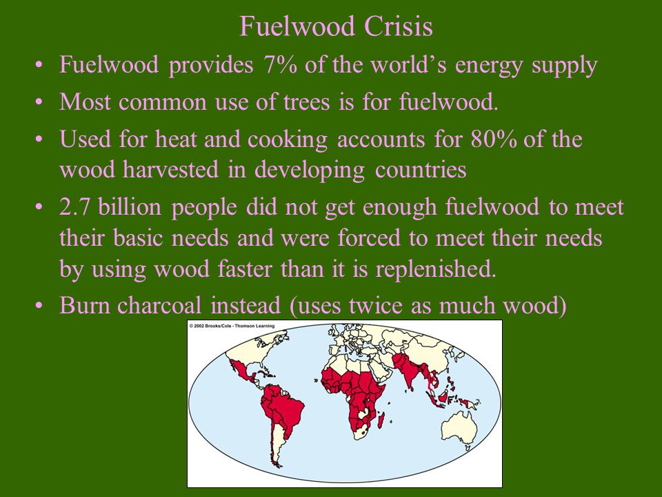 Fuelwood Crisis Fuelwood provides 7% of the world's energy supply