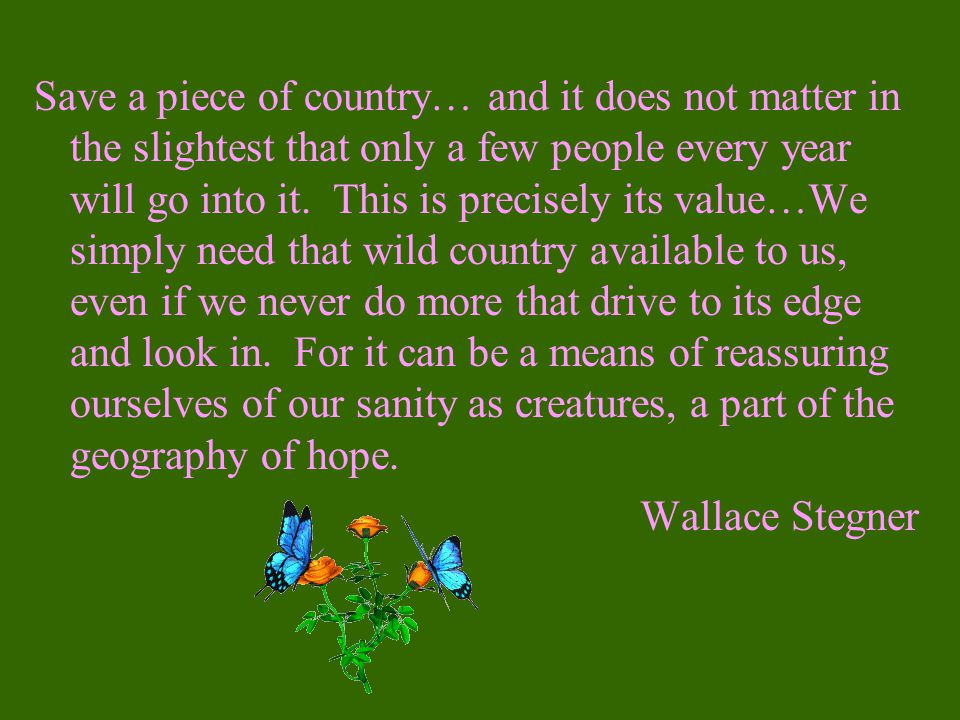 Save a piece of country… and it does not matter in the slightest that only a few people every year will go into it. This is precisely its value…We simply need that wild country available to us, even if we never do more that drive to its edge and look in. For it can be a means of reassuring ourselves of our sanity as creatures, a part of the geography of hope.