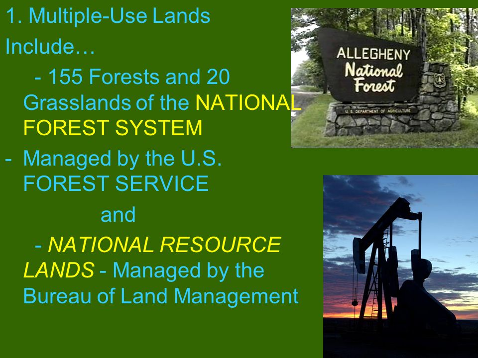 1. Multiple-Use Lands Include… - 155 Forests and 20 Grasslands of the NATIONAL FOREST SYSTEM. Managed by the U.S. FOREST SERVICE.