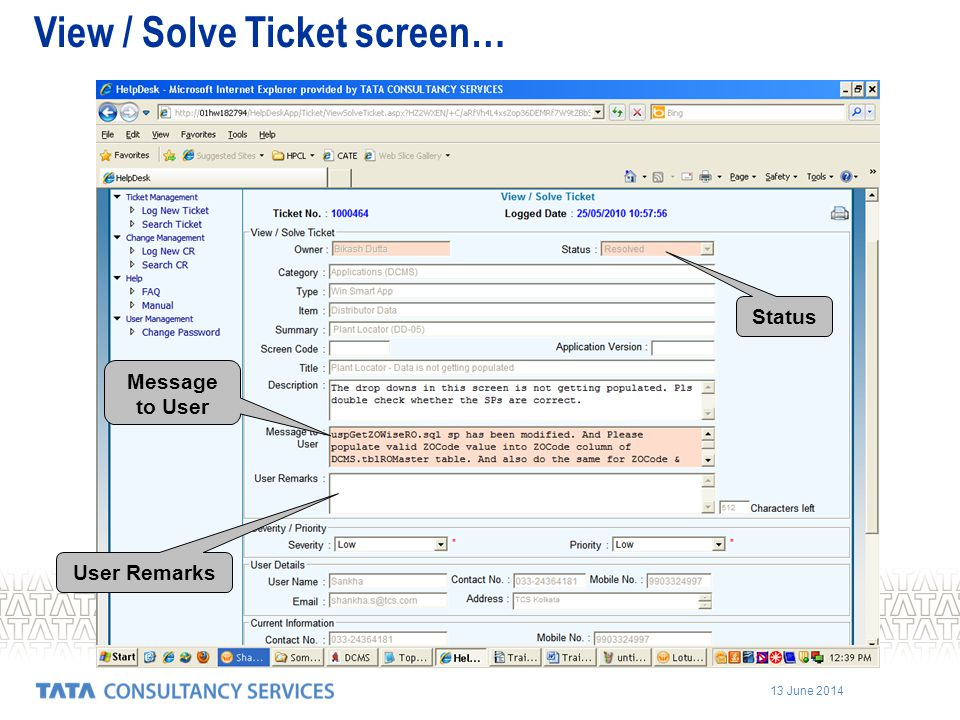 View / Solve Ticket screen…