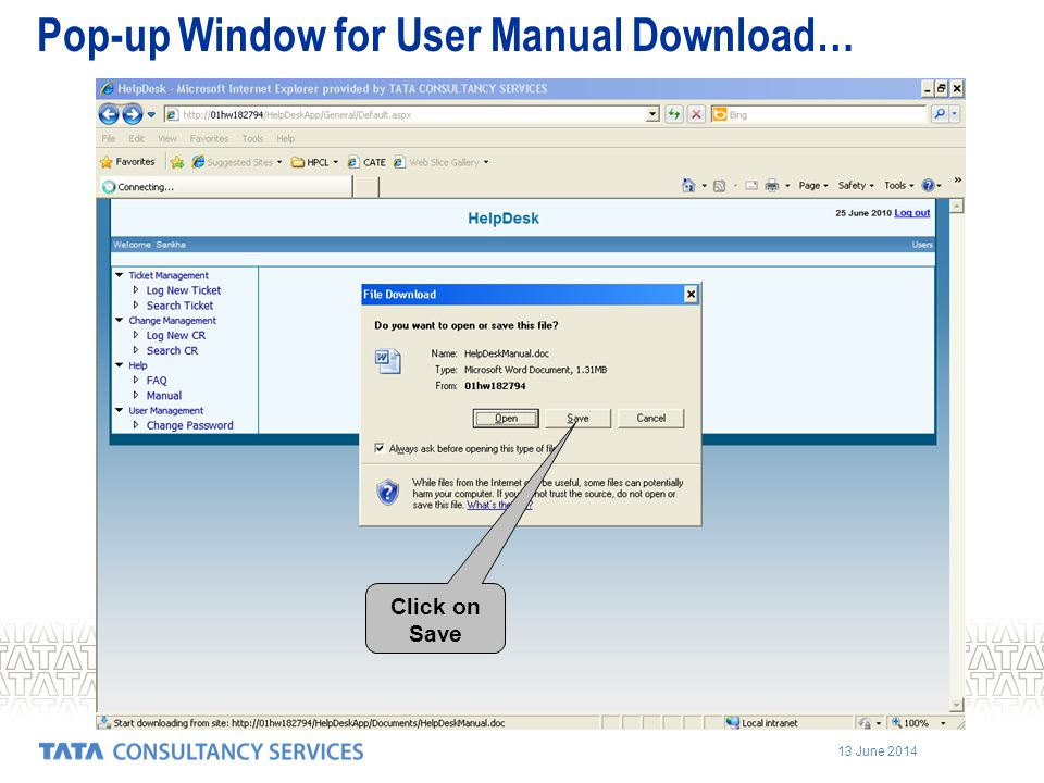 Pop-up Window for User Manual Download…