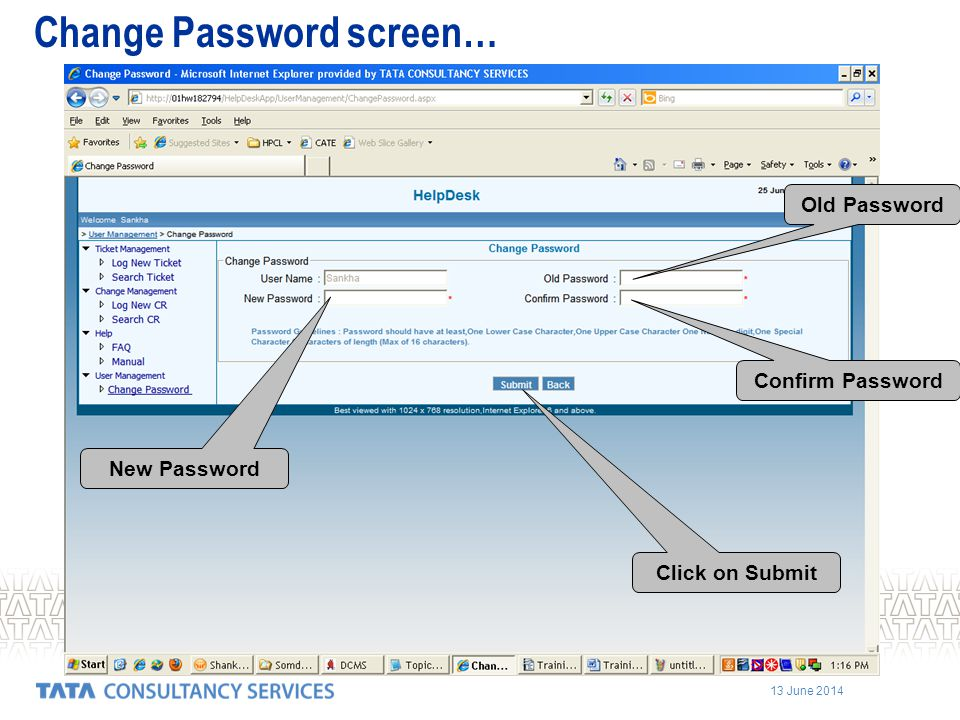 Change Password screen…
