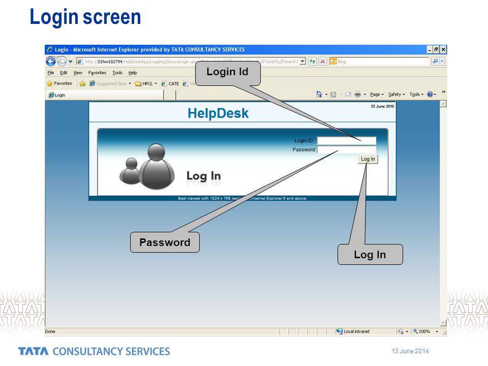 Login screen Login Id Password Log In