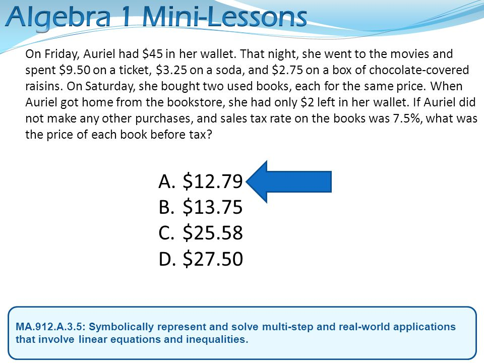Algebra 1 Mini-Lessons $12.79 $13.75 $25.58 $27.50