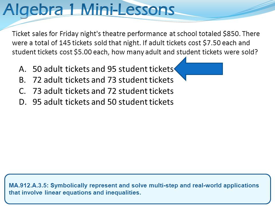 Algebra 1 Mini-Lessons 50 adult tickets and 95 student tickets