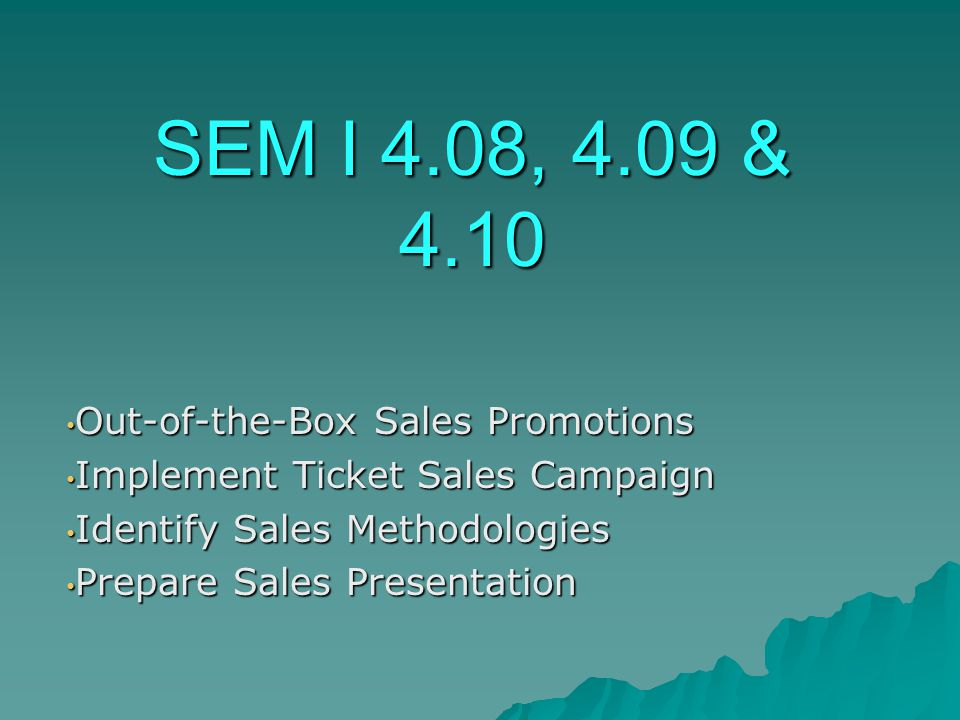 SEM I 4.08, 4.09 & 4.10 Out-of-the-Box Sales Promotions