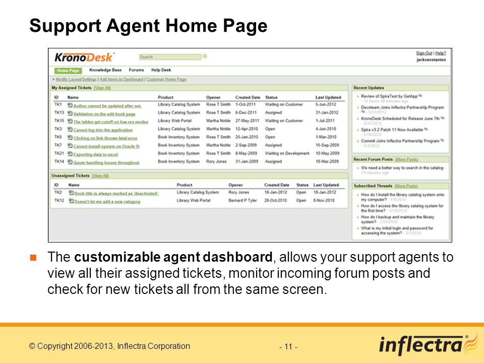 Support Agent Home Page