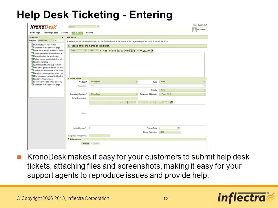 Help Desk Ticketing - Entering