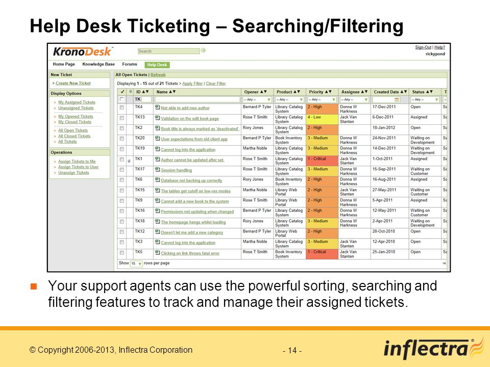 Help Desk Ticketing – Searching/Filtering