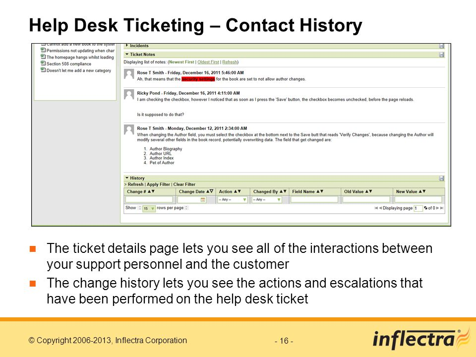 Help Desk Ticketing – Contact History