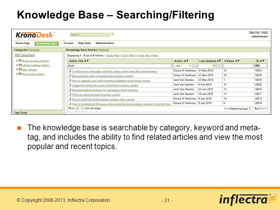 Knowledge Base – Searching/Filtering