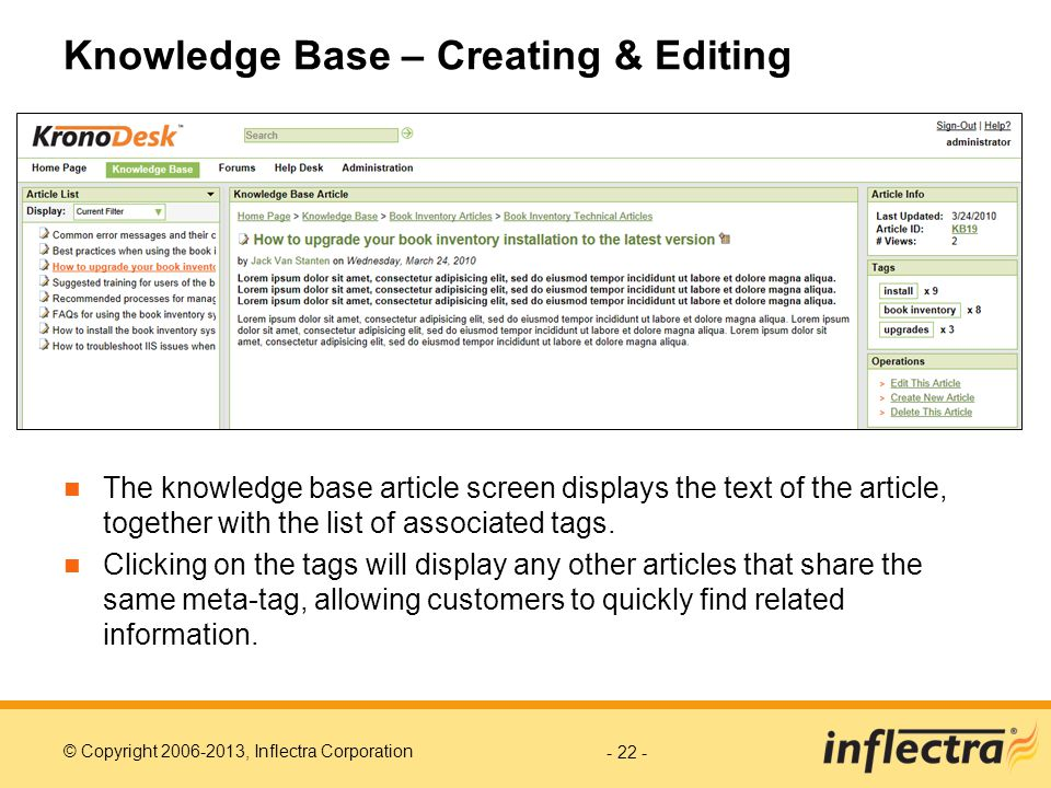 Knowledge Base – Creating & Editing