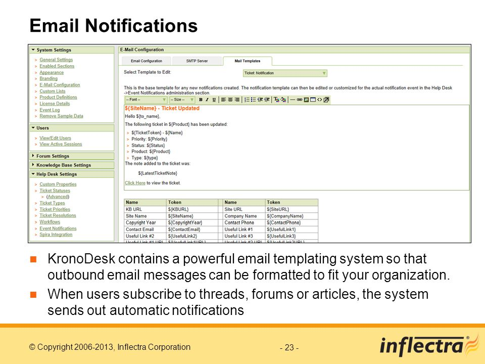 Email Notifications KronoDesk contains a powerful email templating system so that outbound email messages can be formatted to fit your organization.