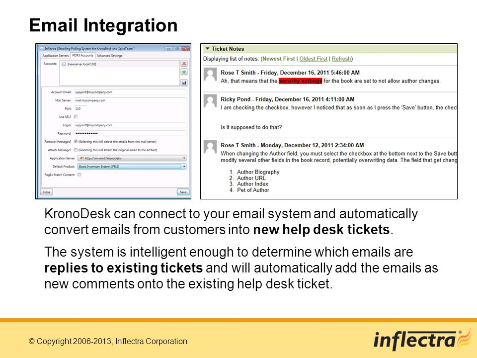 Email Integration KronoDesk can connect to your email system and automatically convert emails from customers into new help desk tickets.