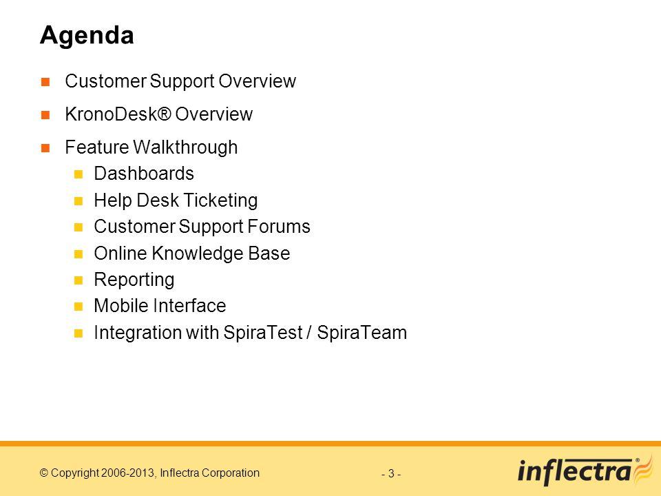 Agenda Customer Support Overview KronoDesk® Overview