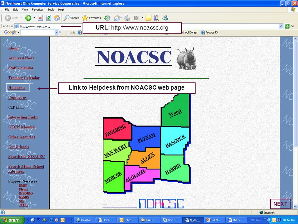 Link to Helpdesk from NOACSC web page