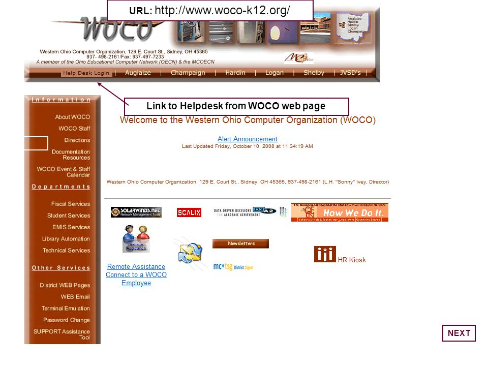 Link to Helpdesk from WOCO web page