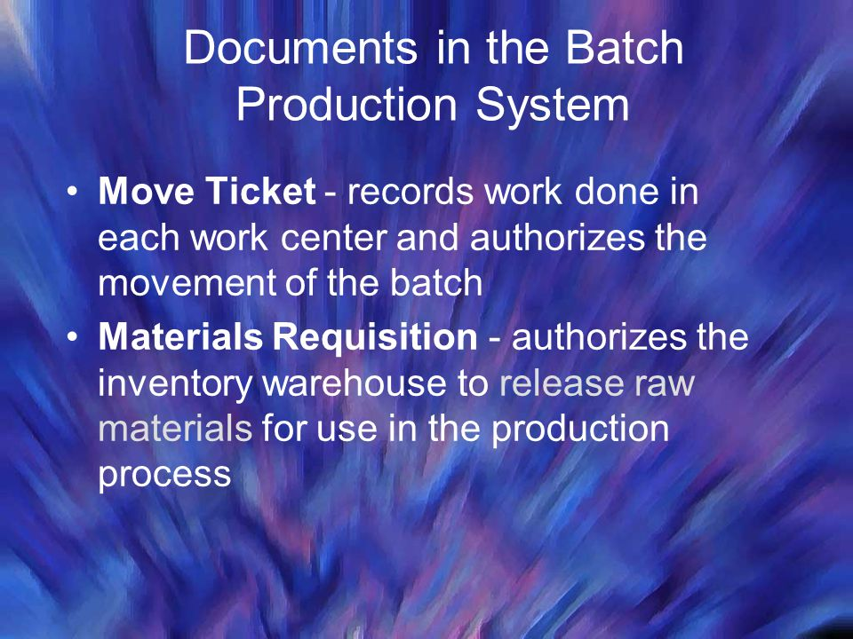 Documents in the Batch Production System