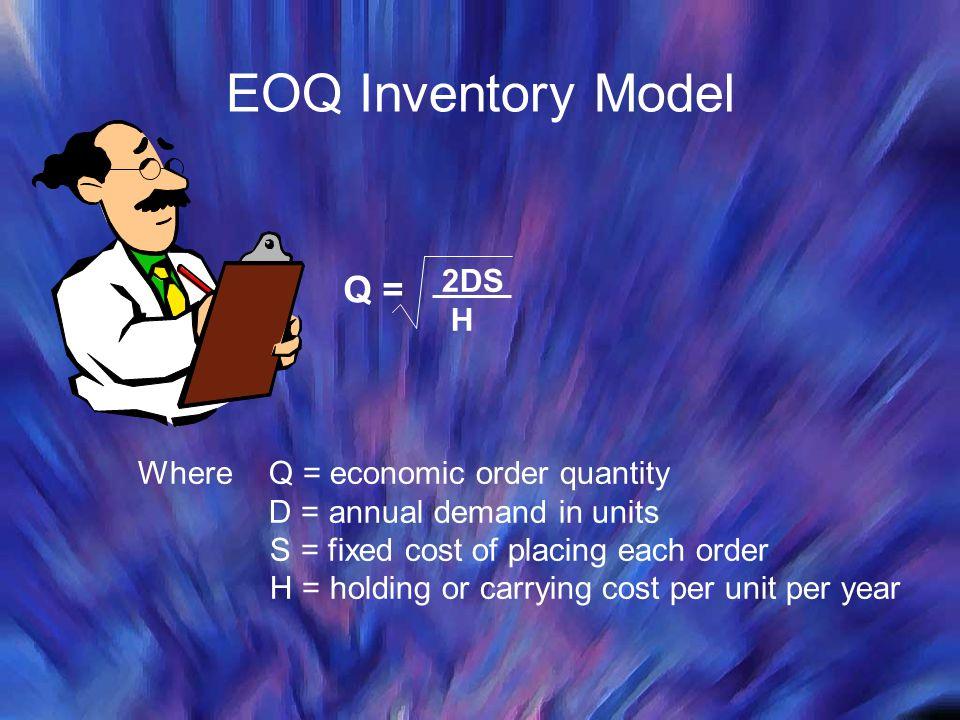EOQ Inventory Model Q = 2DS H Where Q = economic order quantity
