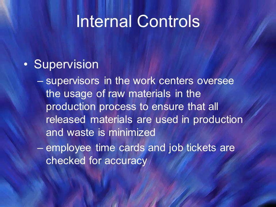 Internal Controls Supervision