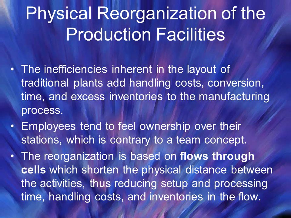 Physical Reorganization of the Production Facilities