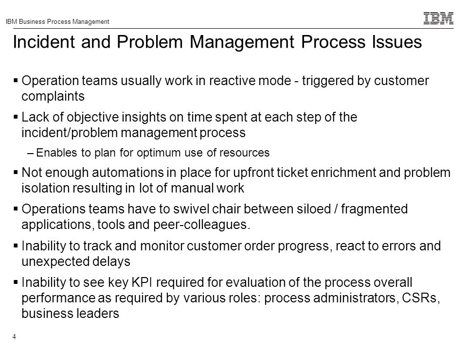 Incident and Problem Management Process Issues