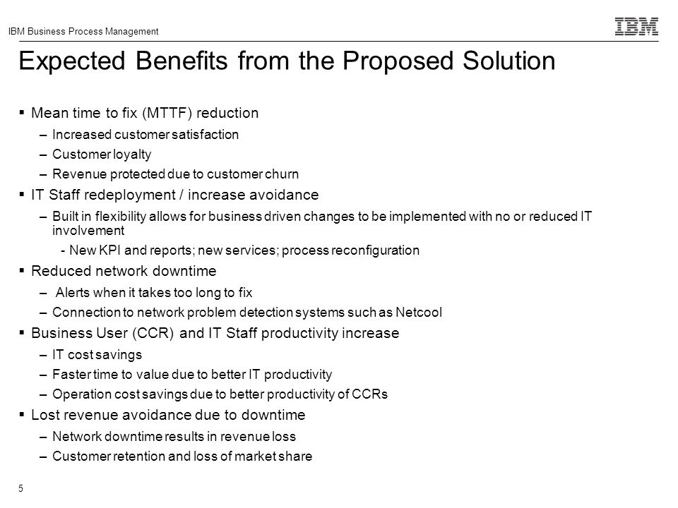 Expected Benefits from the Proposed Solution
